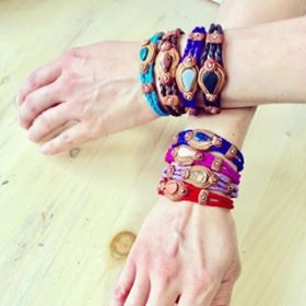 Peruvian Leather and Stone Bracelets