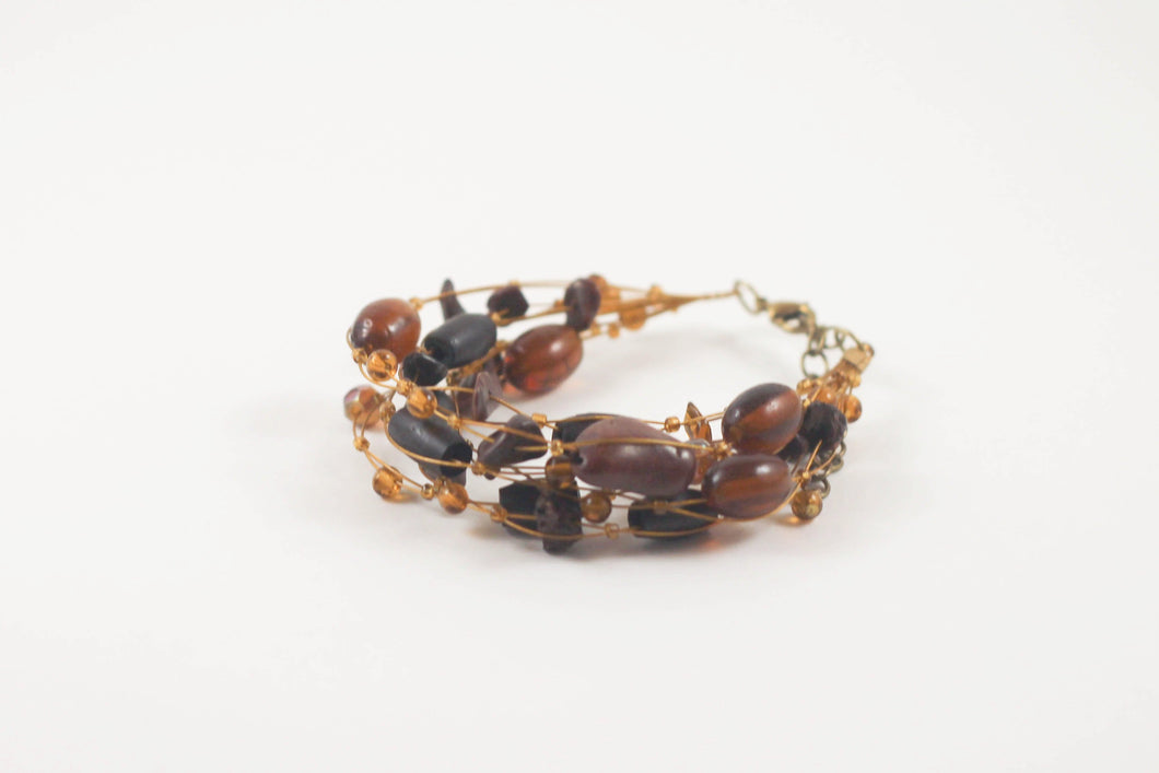 Brown Mixed Bead Wire Bracelet