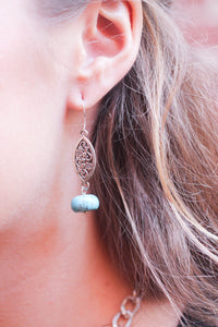 Silver Marquis and Turquoise Earrings