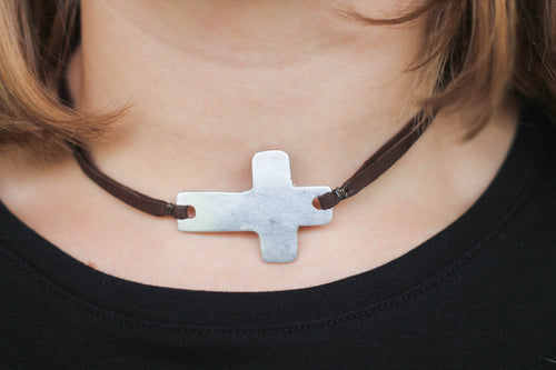 Brown Leather Cross Necklace