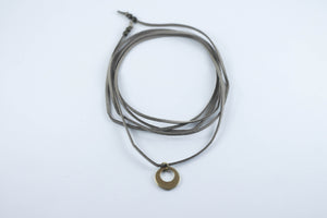 Brass Crescent Leather Bolo Necklace