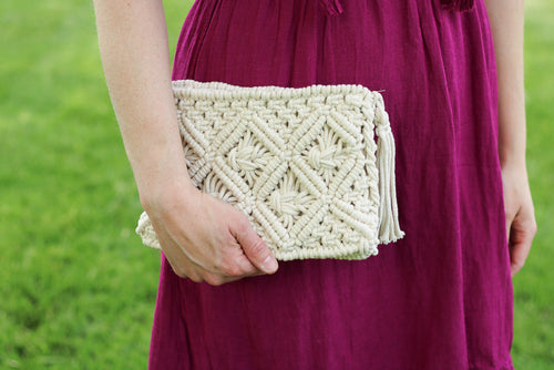 Macrame Clutch with Tassel