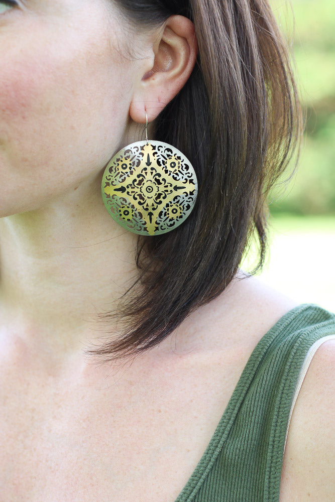 Ronnie Two-tone Circular Earrings