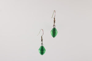 Green Single Bead Earrings
