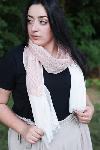 Cream & Coral Cotton Scarf