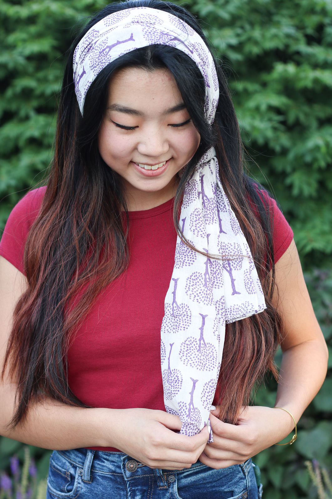 Purple Tree of Life Scarf