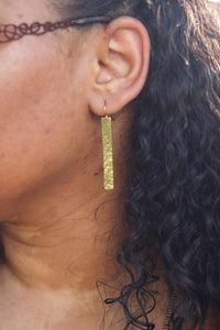 Hammered Brass Drop Earrings