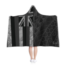 Load image into Gallery viewer, Kanaka Kollection Tribal Flag Hooded Blanket (B&W)