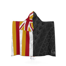 Load image into Gallery viewer, Kanaka Kollection Tribal Flag Hooded Blanket (White)