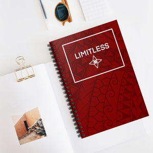 Tribal LIMITLESS Square Spiral Notebook - Ruled Line (Red)