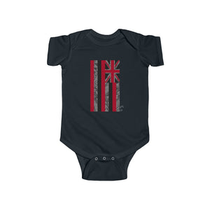 Kanaka Kollection Tribal Flag Infant Fine Jersey Bodysuit (Gray)