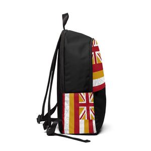 Kanaka Kollection Tribal Flag Unisex Fabric Backpack (White)