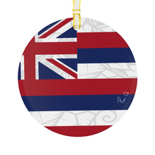 Load image into Gallery viewer, Tribal Hawaiian Flag Glass Ornament 3.5""