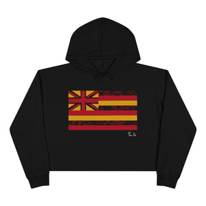 Kanaka Kollection Tribal Flag Cropped Hoodie (Red)