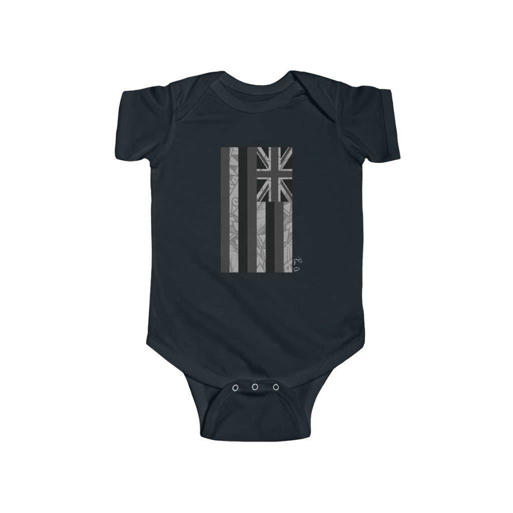 Kanaka Kollection Tribal Flag Infant Fine Jersey Bodysuit (B&W)