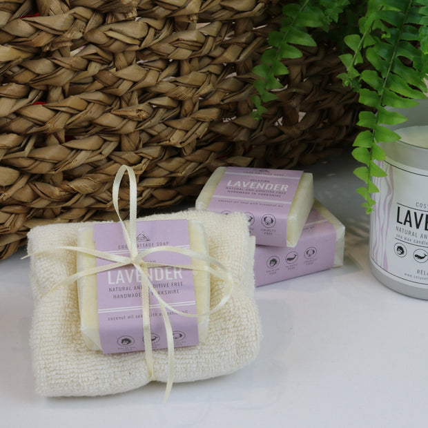 Cosy Cottage Soap 55g Lavender Soap & Cloth Set