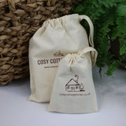cosy cottage natural cotton drawstring soap bag