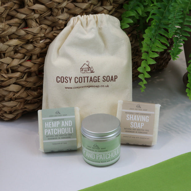 Cosy Cottage Soap Gift Set For Him With Shaving Soap, 55g Hemp & Patchouli Soap & hand cream