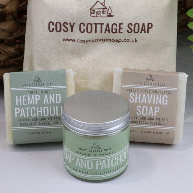 Cosy Cottage Soap Gift Set For Him With Shaving Soap, 55g Hemp & Patchouli Soap & 60ml hand cream