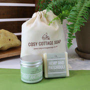 Cosy Cottage Soap Hemp & Patchouli Soap & Cream Set with cotton drawstring bag