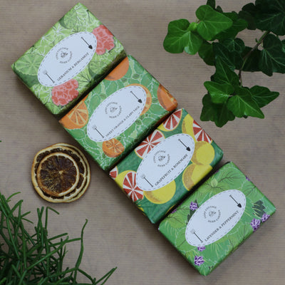Cosy Cottage Soap Herb Garden Soaps in Geranium & Bergamot, Sweet Orange & Clary Sage, Grapefruit & Rosemary and Lavender & Peppermint
