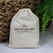 Cosy Cottage Soap Hemp & Patchouli Soap & Cream Set in a cotton drawstring bag