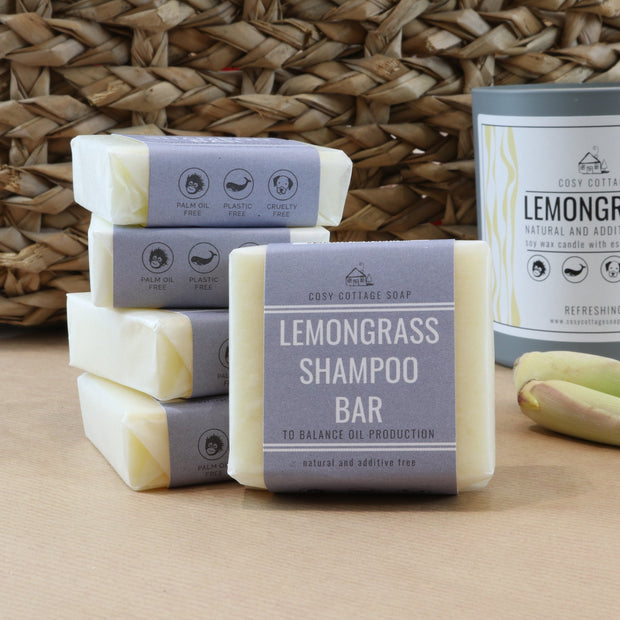 Natural lemongrass solid shampoo bars