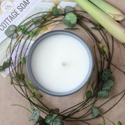 Cosy Cottage Soy Wax Candles in Lemongrass With Plant Leaves