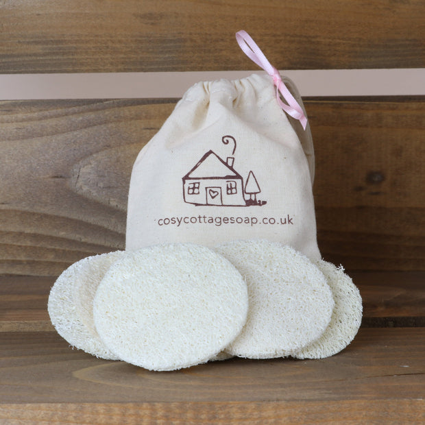 Six Reusable Natural Exfoliating Loofah Discs