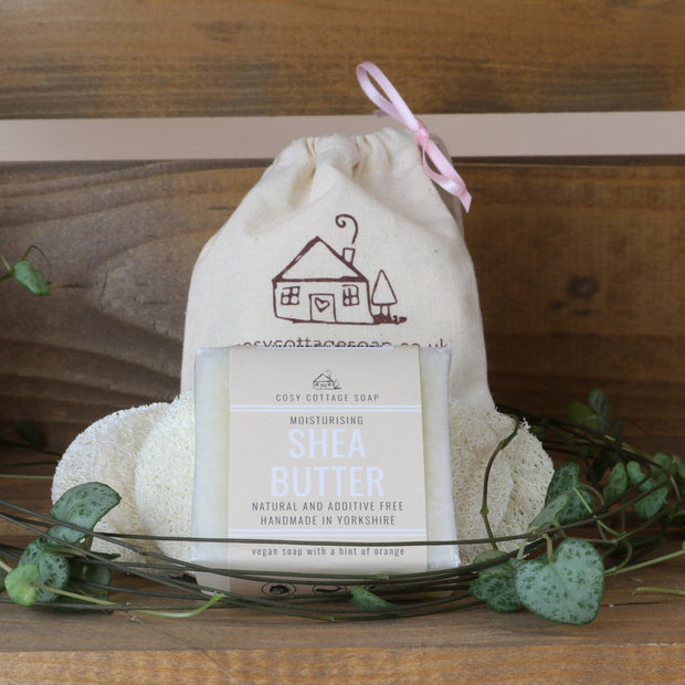 Cosy Cottage Soap Shea Butter Facial Soap With 6 Loofah Discs