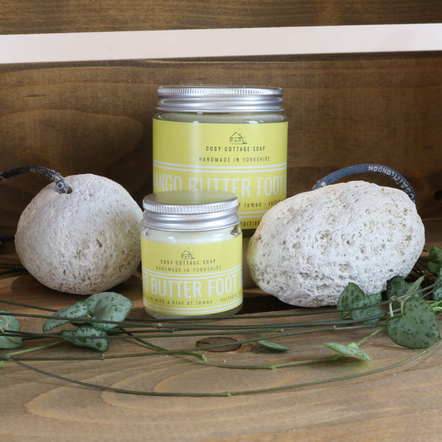 Cosy Cottage Soap exfoliating pumice stone with rope and Mango Foot Balm