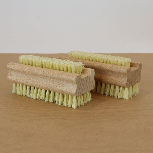 Wooden nail brush with sisal bristles