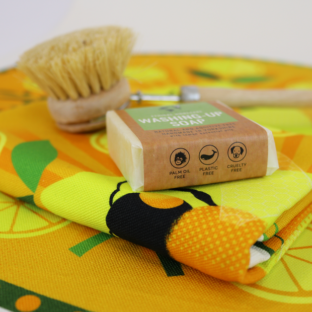 Cosy Cottage Washing Up Soap With Washing Up Brush and White Cooperillo Bee Tea Towel