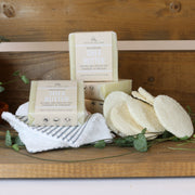 Cosy Cottage Soap Shea Butter Facial Soap with loofah discs, reusable face wipe or muslin cloth