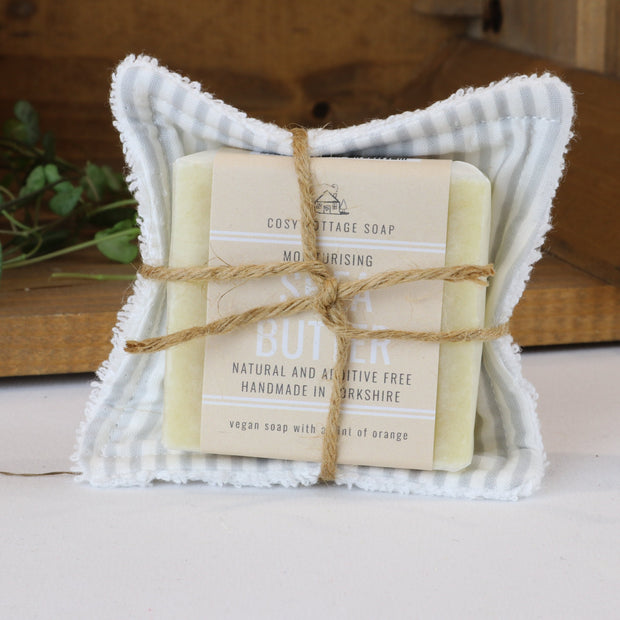 Cosy Cottage Soap Shea Butter Facial Soap With Reusable Face Wipe