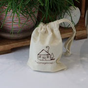 cosy cottage natural cotton drawstring soap bag small