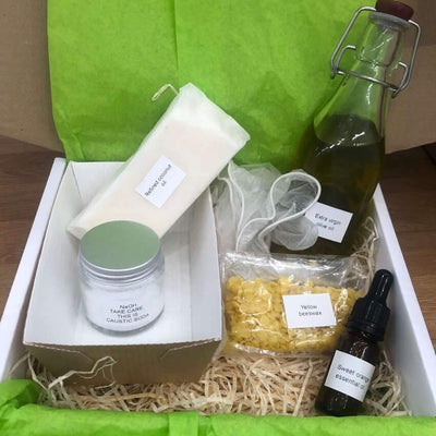 soap making kit in a plastic free gift box for making at home