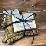 hemp and patchouli soap and woollen sock set in wooden crate
