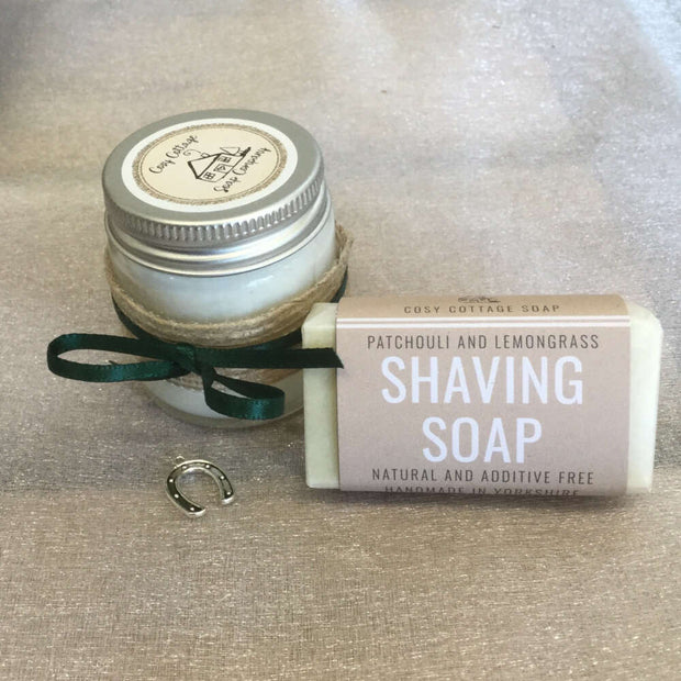 moisturising shaving travel soap and soy wax candle jar