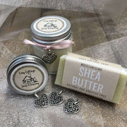 moisturising shaving travel soap, soy wax candle and lip balm with love heart pendants
