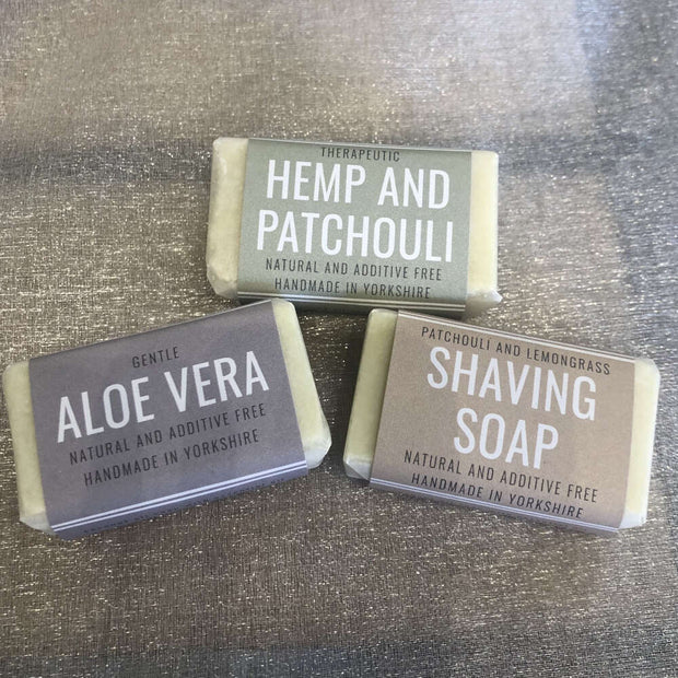 hemp and patchouli, aloe vera and shaving handmade travel soaps