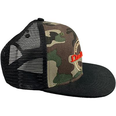 DELUXE 3D Embroidered Snapback Trucker Cap - Black Camo