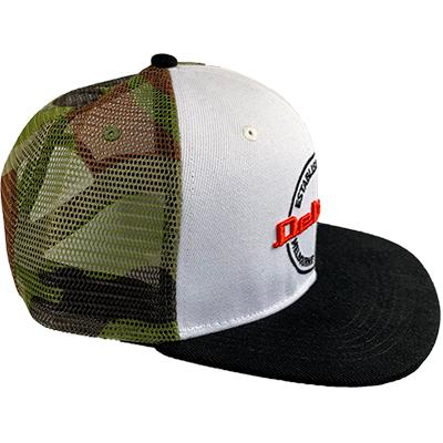 DELUXE 3D Embroidered Snapback Trucker Cap - White Camo
