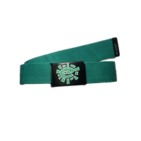 green silk screen belt