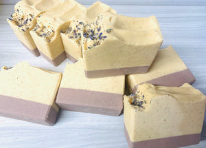 Lemon Lavender Exfoliating Natural Soap w/ Aloe Vera & Coconut Milk