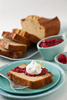 Moist lemon pound cake with raspberry sauce and natural whipped cream. Also delicious with strawberry sauce.