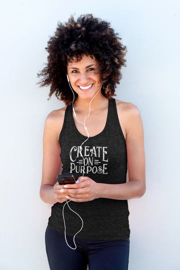 Create On Purpose - Inspirational Ladies' Racerback Tank