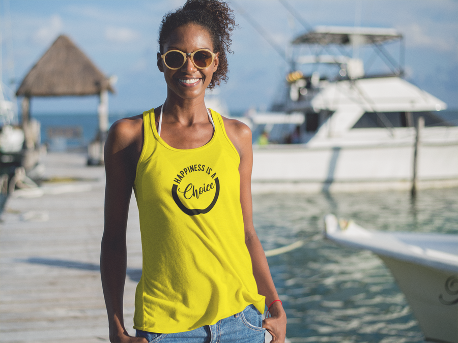 Happiness Is A Choice - Inspirational Ladies' Racerback Tank