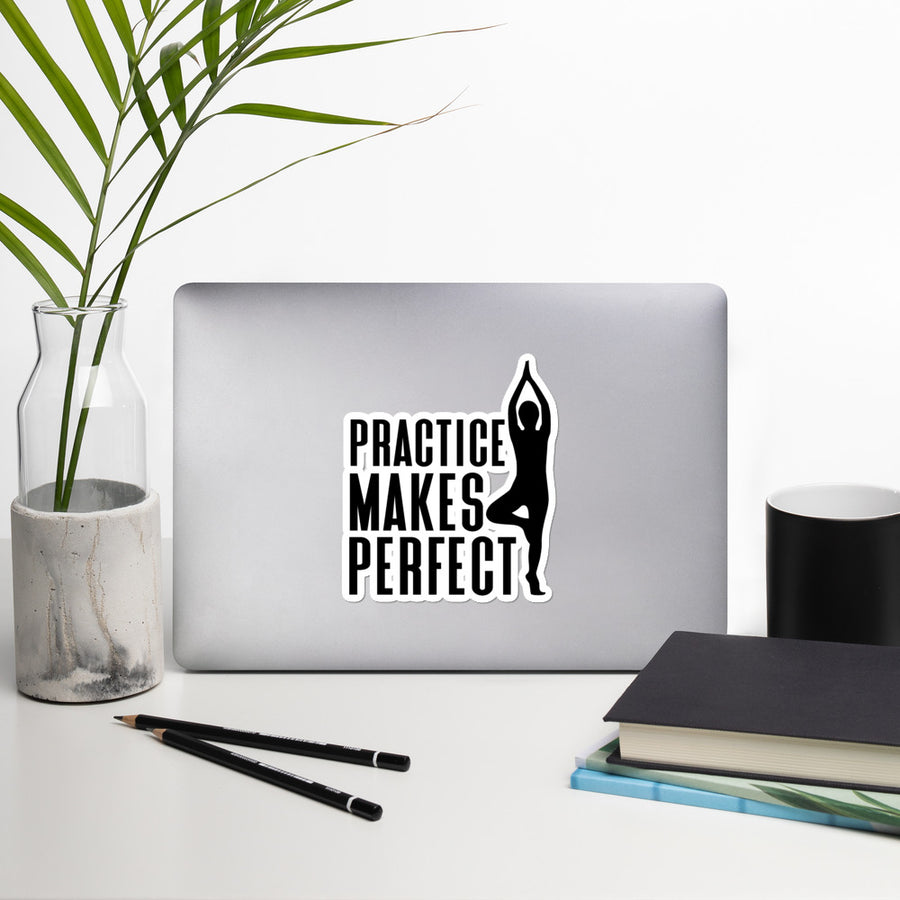 Practice Makes Perfect - Yoga - Inspirational stickers