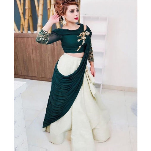 172a91ff09 Dark Green Embroidered Attractive Party Wear Lehenga Choli And Dupatta Set  MS-1579